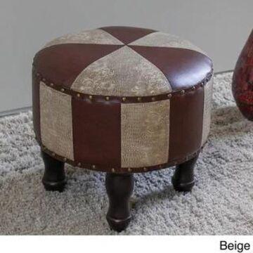 International Caravan Carmel 17-inch Ottoman Stool (Beige - Foot Stool/Standard Ottoman - Traditional/Modern & Contemporary)