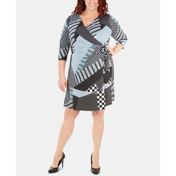 Plus Size Printed Tie-Front Wrap Dress