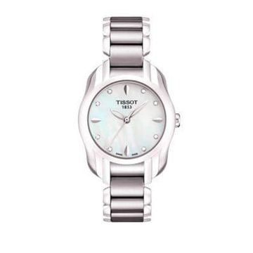T Wave Round White Mother Of Pearl Diamonds and Quartz Trend Watch