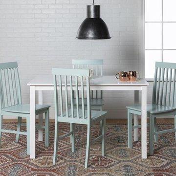 Walker Edison Modern 5-Piece Dining Set - White / Sage