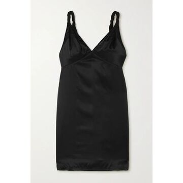 RtA - Laura Silk-satin And Stretch-tulle Mini Dress - Black
