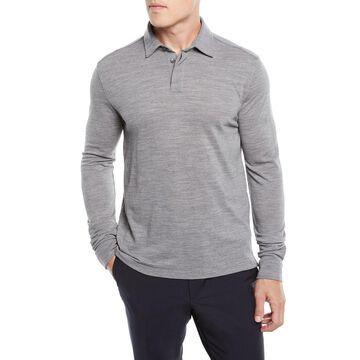Long-Sleeve Wool Polo Shirt with Logo