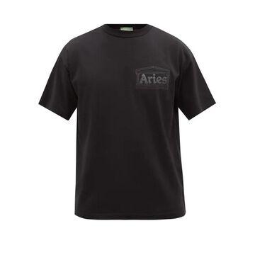 Aries - Temple Logo-print Cotton-jersey T-shirt - Mens - Black
