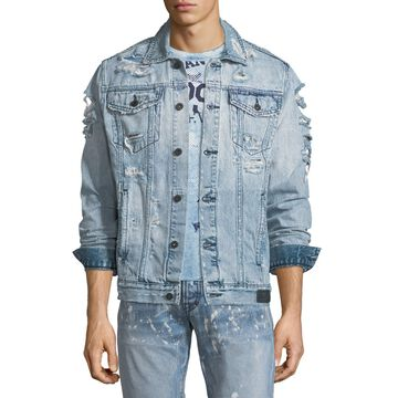 Distressed Denim Jacket with Skulls Applique