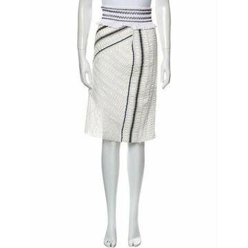 Striped Knee-Length Skirt White