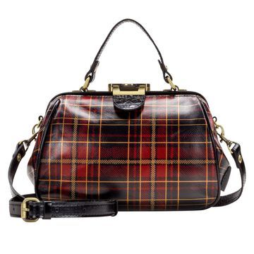 Patricia Nash Gracchi Tartan Leather Frame Satchel