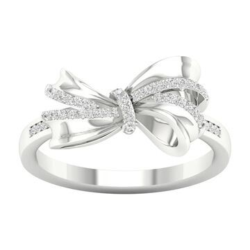 1/8ct TDW Diamond Knot Bow Fashion Ring in 10k Gold by De Couer