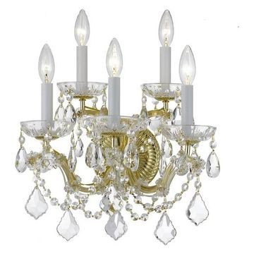 Crystorama Maria Theresa 5-Light Clear Crystal Gold Sconce II