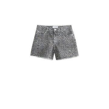 Violeta BY MANGO - Leopard printed shorts denim grey - 14 - Plus sizes