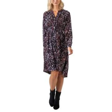 Belldini Black Label Printed High-Low Button Front Long Sleeve Dress