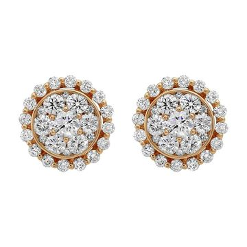 14K Rose Gold 1 1/2 ct. TDW Diamonds Cluster Stud Earrings by Beverly Hills Charm