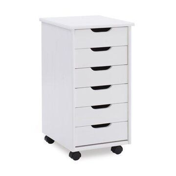 Linon Cary Six Drawer Rolling Storage Cart, Multiple Finishes