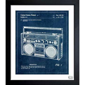 Oliver Gal 'Boombox 1978' Framed Blueprint Art
