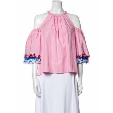 Halterneck Three-Quarter Sleeve Blouse Pink