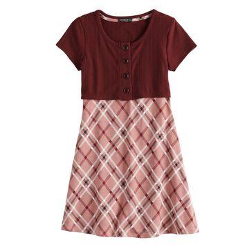 Girls 7-16 My Michelle Plaid Button Front Dress