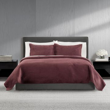 Simple Vera Vera Wang Velvet Sculptural Wave Quilt Set