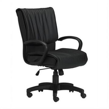 Safco Mercado Black Genuine Leather Conference Office Chair with Loop Arms - Black - Mayline