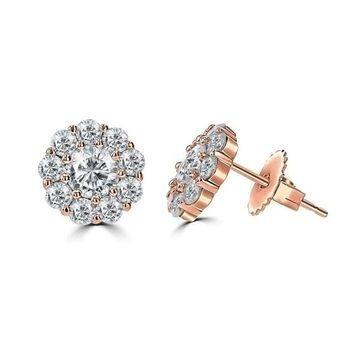 La Vita Vital 2.0ct TGW 14 Karat Moissanite Floral Stud Earrings