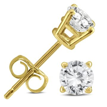 Marquee Jewels 14k Yellow Gold 1/2ct TDW AGS Certified Round Diamond Solitaire Stud Earrings (Yellow)