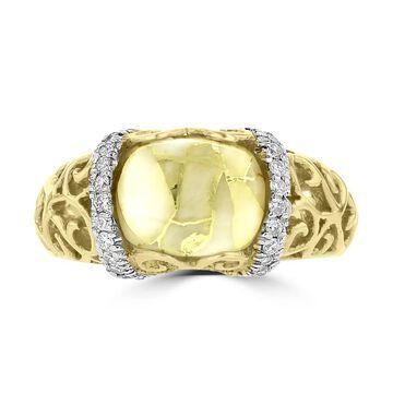 La Vita Vital 14k Yellow Gold, Gold Quartz and 1/4ct TDW White Diamond Ring