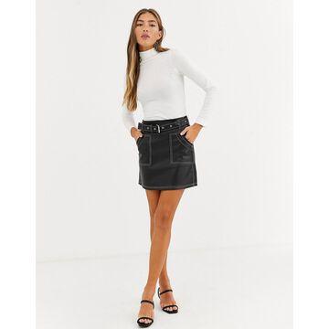 Lost Ink pu mini skirt with conrtast stitching-Black