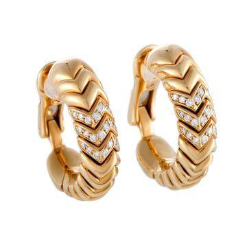 Bvlgari Spiga Yellow Gold Diamond Pave Hoop Clip-on Earrings