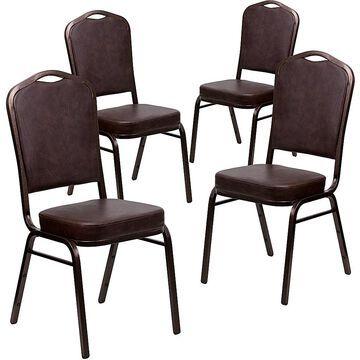 Flash Furniture Hercules Banquet Chairs In Brown Vinyl (Set Of 4)