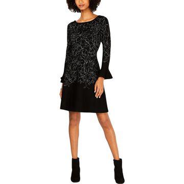 Taylor Womens Metallic Printed Sweaterdress