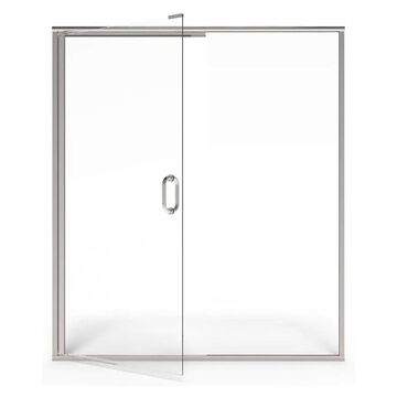 American Standard 76-in H x 44.06-in to 48-in W Semi-Frameless Hinged Silver Shine Shower Door (Clear Glass)   AM00817400.213
