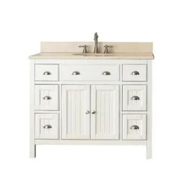 Avanity Hamilton French White 42-inch Vanity Combo with Top and Sink (Galala Beige Marble)