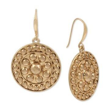 Robert Lee Morris Soho Gold-Tone Shield Drop Earrings