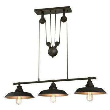 ''Westinghouse 6332500 Iron Hill Indoor Pulley Pendant, Oil Rubbed Finish with ...''
