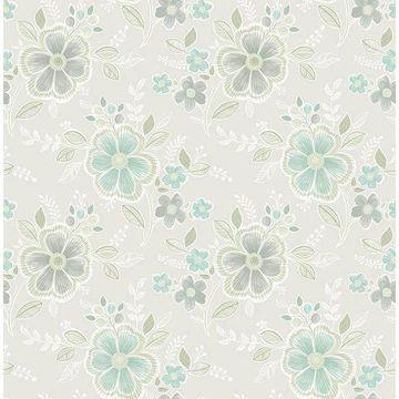 Brewster 2657-22201 Chloe Aquamarine Floral Wallpaper
