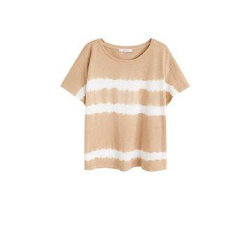Violeta BY MANGO - Tie-dye t-shirt beige - M - Plus sizes