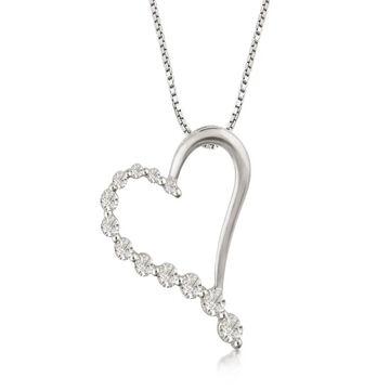 Divina Sterling Silver 1/2ct TDW Heart Journey Pendant