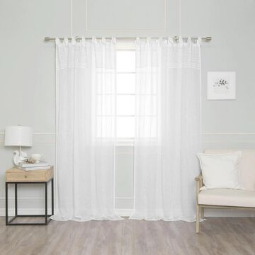 Aurora Home Top Border French Linen Romantic Tie Top Single Curtain Panel