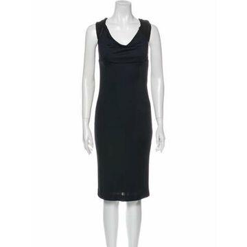 Cowl Neck Midi Length Dress Black
