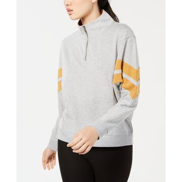 Juniors' Colorblock Striped Half-Zip Sweatshirt