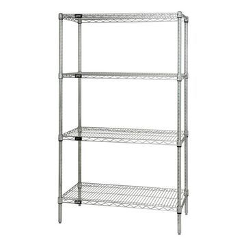 Quantum Storage Systems 36-in D x 18-in W x 74-in H 4-Tier Wire Utility in Chrome