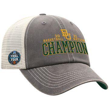 Men's Top of the World Gray Baylor Bears 2021 NCAA Men's Basketball National Champions Bold Trucker Snapback Adjustable Hat