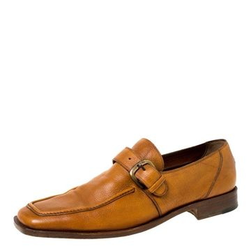Fratelli Rossetti Brown Leather Monk Strap Loafers Size 44.5