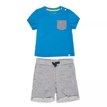 Sovereign Code Size 9M 2-Piece Adriel Tee and Short Set in Blue/Grey