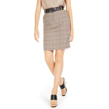 Bar Iii Belted Plaid Skirt, Created For Macy's
