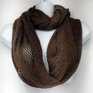 Cejon C49134 Metallic Fishnet Knit Infinity Scarf Dark Stone Beige Womens