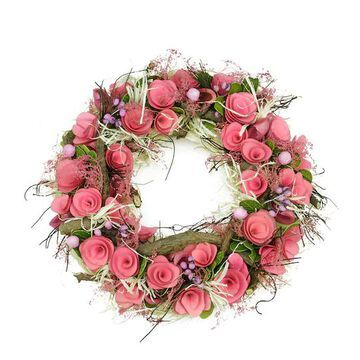 """12.5"""" Pink Flowers & Berries with Green Leaves & Twigs Spring Wreath By Northlight 