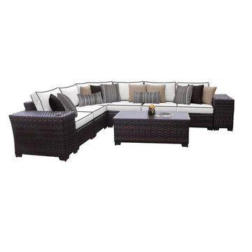 kathy ireland River Brook 9 Piece Outdoor Wicker Patio Furniture Set 0