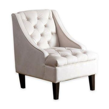 Abbyson Living Ella Tufted Swoop Chair in Cream