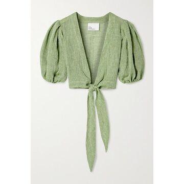 Lisa Marie Fernandez - Pouf Cropped Tie-front Linen-blend Gauze Top - Green