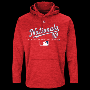 Majestic MLB Player On Field Hoodie - Washington Nationals - Team Scarlet, Size One Size