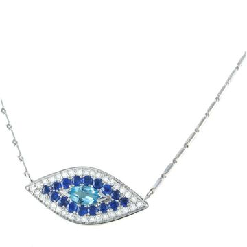 14k White Gold 7/8 ct. Diamonds and Blue Sapphire Evil Eye Necklace by Beverly Hills Charm (14K White Gold)